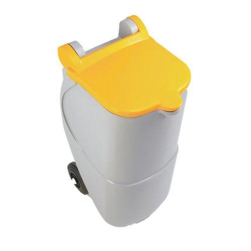 Designer Mobile Recycling Wheelie Bin for Plastic 90 Litre Capacity 420x500x930mm Yellow