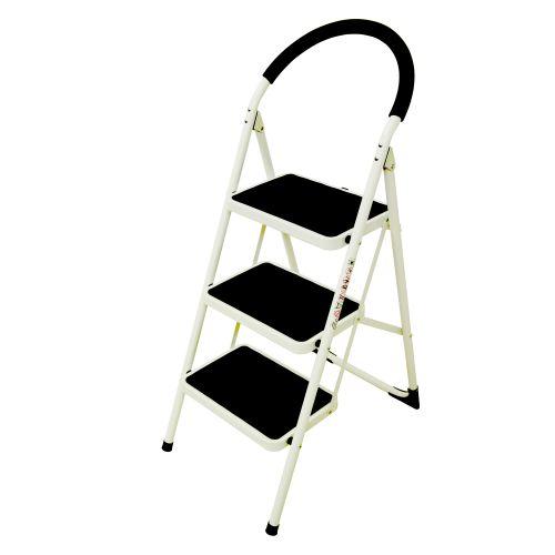 Folding Step Ladder 3 Tread Capacity 150kg White Frame