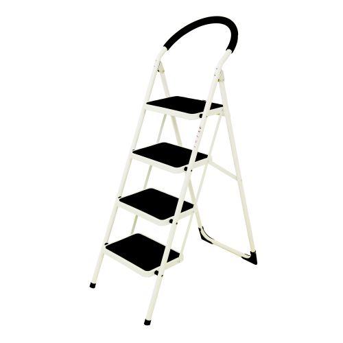 Folding Step Ladder 4 Tread Capacity 150kg White Frame