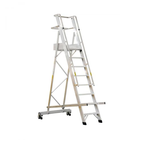 Alum 10 Tread Folding Mobile Step Ladder