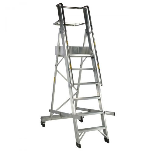Alum 6 Tread Folding Mobile Step Ladder
