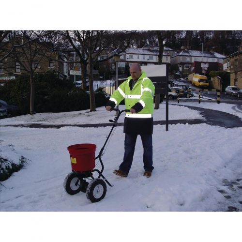 Salt Spreader Coverage 3m Capacity 22kg Pneumatic Tyres Rain Cover Hopper Screen
