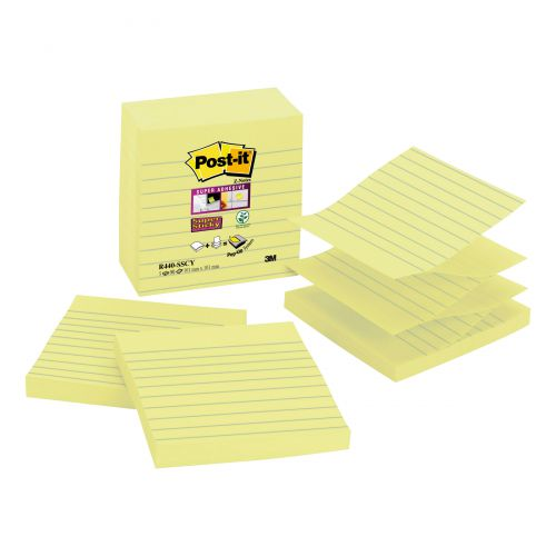 Post-it Z-notes Lined 101x101mm Yellow Ref R440-SSCY-EU [Pack 5]