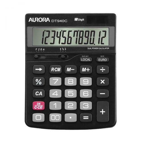Aurora Semi-desk Calculator 12 Digit 3 Key Memory Battery/Solar Power 115x33x145mm Black Ref DT940C