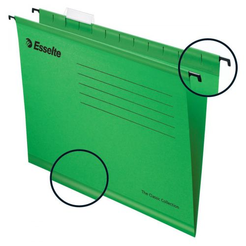 Esselte Classic Reinforced Suspension File Manilla 15mm V-base 210gsm Foolscap Green Ref 90337 [Pack 25]