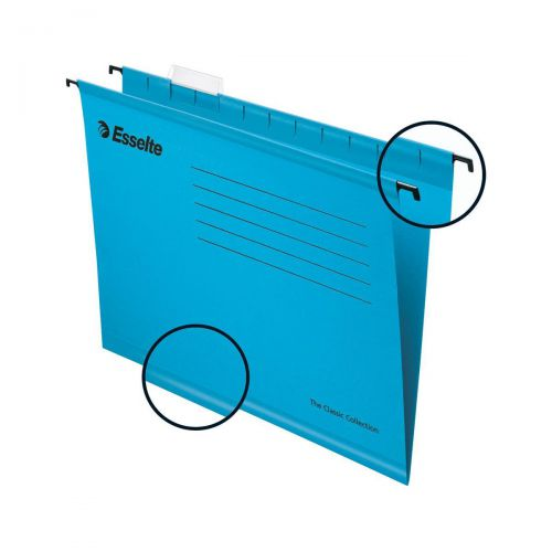 Esselte Classic Reinforced Suspension File Manilla 15mm V-base 210gsm Foolscap Blue Ref 90334 [Pack 25]