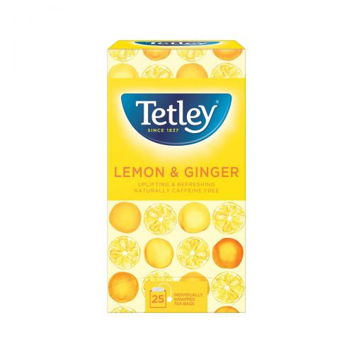 Tetley Individually Enveloped Tea Bags Lemon and Ginger Flavour Ref 1579a [Pack 25]