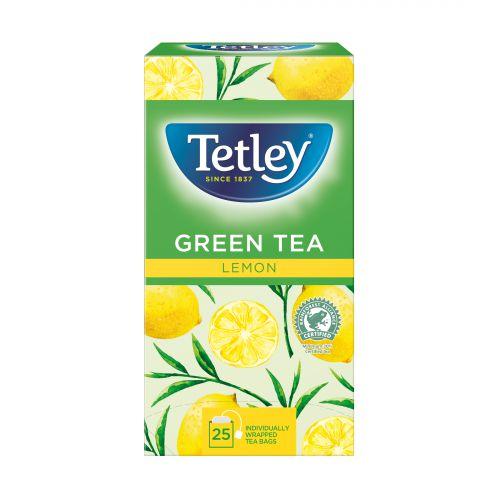 Tetley Individually Enveloped Tea Bags Green Tea with Lemon Individually Wrapped Ref 1296 [Pack 25]