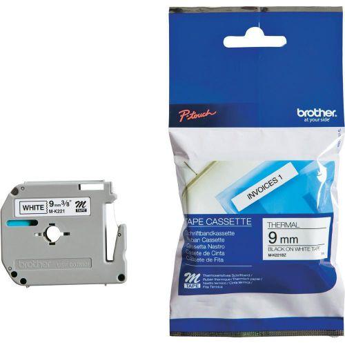 Brother P-Touch M-K221BZ 9mmx8m Black On White Plastic Labelling Tape Ref MK221BZ