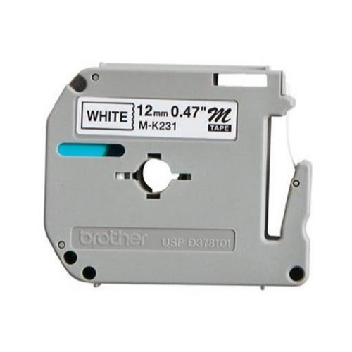 Brother P-Touch M-K231SBZ 12mmx4m BlackOnWhite Plastic Labelling Tape Ref MK231SBZ 3to5 Day Leadtime