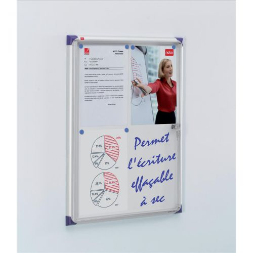 Nobo Noticeboard Extra-flat Glazed Case Lockable Magnetic Steel 4xA4 W550xD50xH735mm Ref 1900846