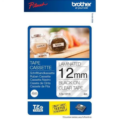 Brother P-Touch TZe-131S 12mmx4m Black On Clear Labelling Tape Ref TZE131S *3to5 Day Leadtime*