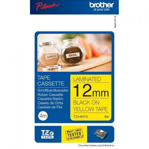 Brother P-Touch TZe-631S 12mmx4m Black On Yellow Labelling Tape Ref TZE631S *3to5 Day Leadtime*