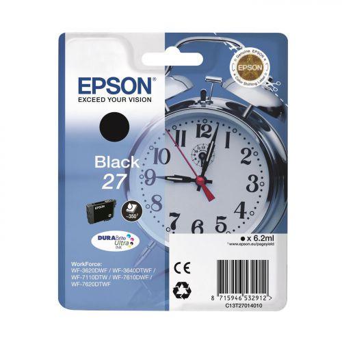 Epson Alarm Clock 27 DURABrite Ultra Ink Cartridge Black Blister Ref C13T27014010 3 to 5 Day Leadtime