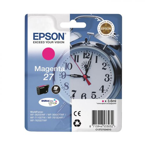 Epson AlarmClock 27 DURABrite Ultra Ink Cartrdge Magenta Blister Ref C13T27034010 3 to 5 Day Leadtime