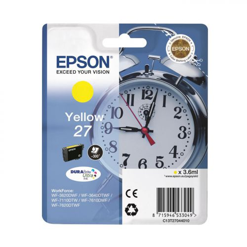 Epson Alarm Clock 27 DURABrite Ultra InkCartridge Yellow Blister Ref C13T27044010 3 to 5 Day Leadtime