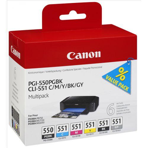 Canon PGI-550/CLI-551 Inkjet Cart HY Black/Cyan/Magenta/Yellow/Photo Black/Grey Ref 6496B005 [Pack 6]