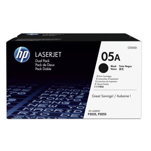 HP 05A LaserJet Toner Cartridges Page Life 2300pp Black Ref CE505D [Pack 2]