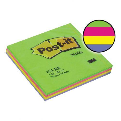 Post-it Rainbow Pads 76x76mm Spring Ref 654RBSP [Pack 12]