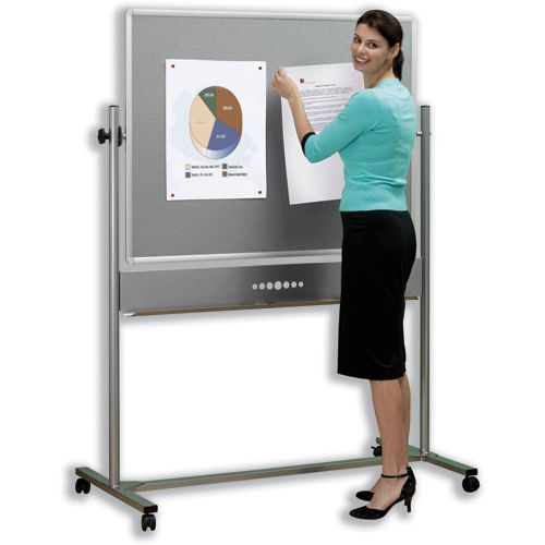Nobo Mobile Combination Board Magnetic Steel and Grey Felt 1200x900mm Ref 1901043