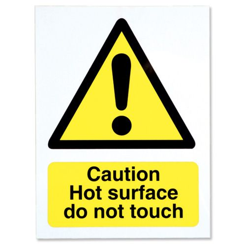 Stewart Superior Caution Hot Surface Catering Sign W150xH200mm Self-adhesive Vinyl Ref CS005SAV