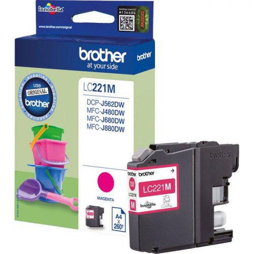 Brother LC221M Inkjet Cartridge Page Life 260pp Magenta Ref LC221M