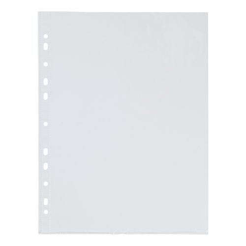 5 Star Office Punched Pocket Polypropylene Top and Side-opening 40 Micron A4 Glass Clear [Pack 100]