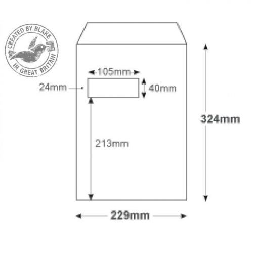 Purely Everyday Pocket P&S High Window White 100gsm C4 324x229mm Ref 23892 Pk 250 10 Day Leadtime