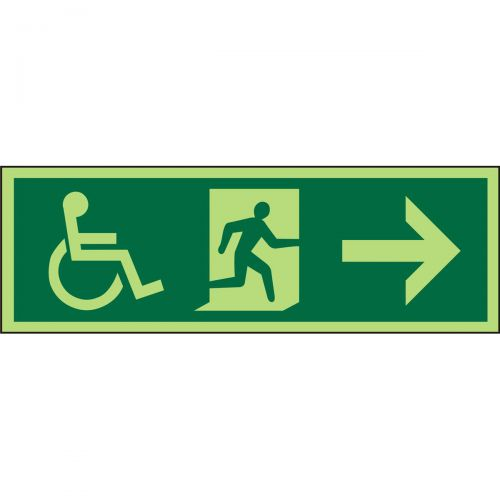 Photol Exit Sign 2mm Wheelchair PictoMan runleft Arrow left down Ref PDSP065450x150 Upto 10Day Leadtime