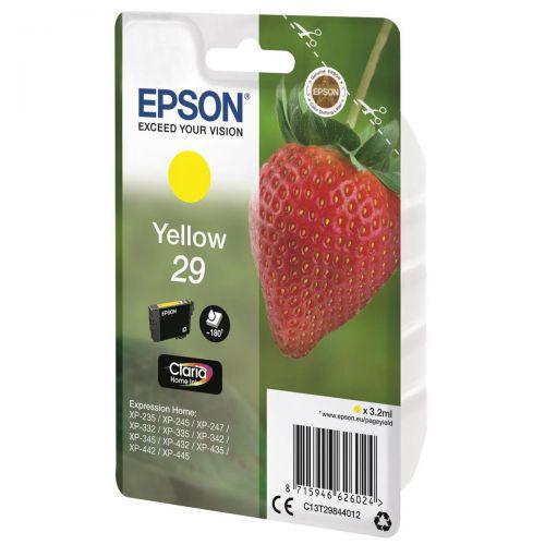 Epson 29 InkJet Cartridge Strawberry Page Life 180pp 3.2ml Yellow Ref C13T29844012