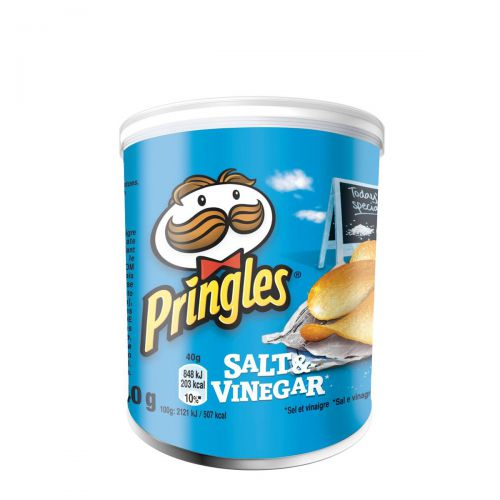 Pringles PopnGo Salt and Vinegar Crisps Unique Shape Well-seasoned Non-greasy Ref 7000273001 [Pack 12]