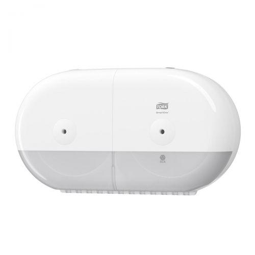 Tork SmartOne Twin Mini Toilet Roll Dispenser W398156x221mm White Ref 682000