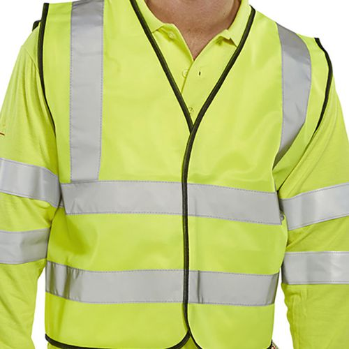Bseen High Visibility Waistcoat Full App Large Yellow/Black Piping Ref WCENGL *Up to 3 Day Leadtime*