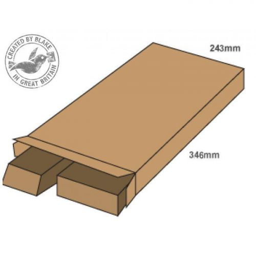 Blakes Purely Packaging Slimline Postal Box Peel & Seal WxDxH 346x243x46mm Kraft Ref PPB40 [Pack 25]