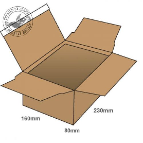 Blake Purely Packaging Postal Box P&S WxDxH 230x160x80mm Kraft Ref PEB30 [Pack 20]