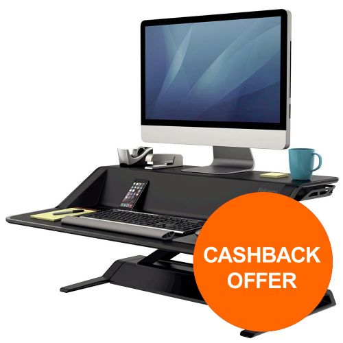 Fellowes Lotus Sit-Stand Workstation Lift Technology Black Ref 7901 [REDEMPTION] Oct-Dec19