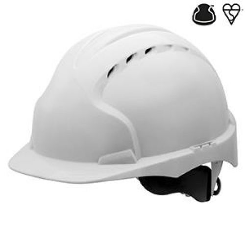 JSP EVO3 Saftey Helmet Wheel Ratchet Vented White Ref AJF170-000-1G1