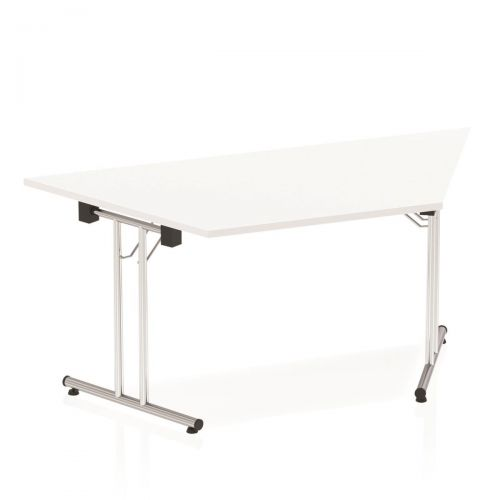 Sonix Trapezoidal Chrome Leg Folding Meeting Table 1600x800mm White Ref I000711