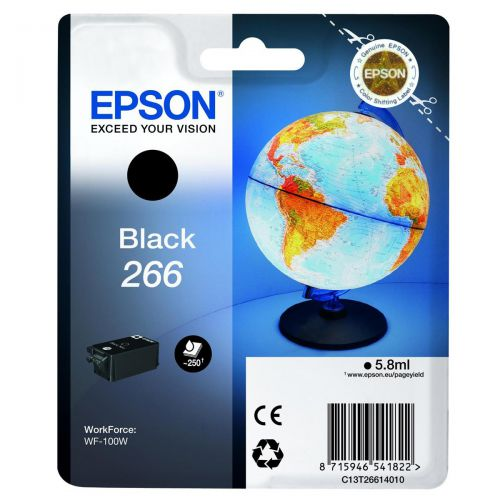 Epson T266 Inkjet Cartridge Globe Page Life 250pp 5.8ml Black C13T26614010