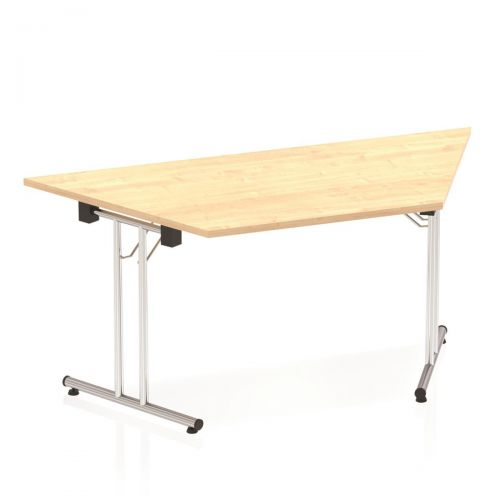 Sonix Trapezoidal Chrome Leg Folding Meeting Table 1600x800mm Maple Ref I000720