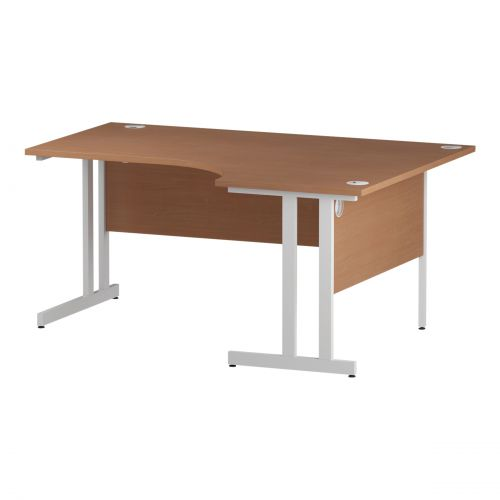 Trexus Radial Desk Right Hand White Cantilever Leg 1600mm Beech Ref I001876