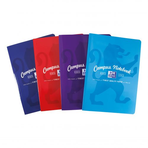 Oxford Campus Notebook Casebound 90gsm Ruled and Margin 192pp A4 Assorted Ref 400086324 [Pack 5]