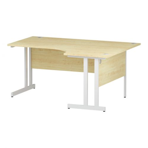 Trexus Radial Desk Right Hand White Cantilever Leg 1600mm Maple Ref I002619