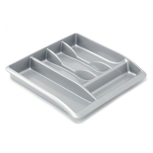 Addis Drawer Organiser Plastic High Gloss Metallic Silver Ref 510855 [Pack 1]