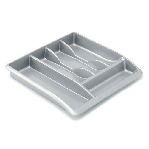 Addis Drawer Organiser Plastic High Gloss Metallic Silver Ref 510855 [Pack 1]