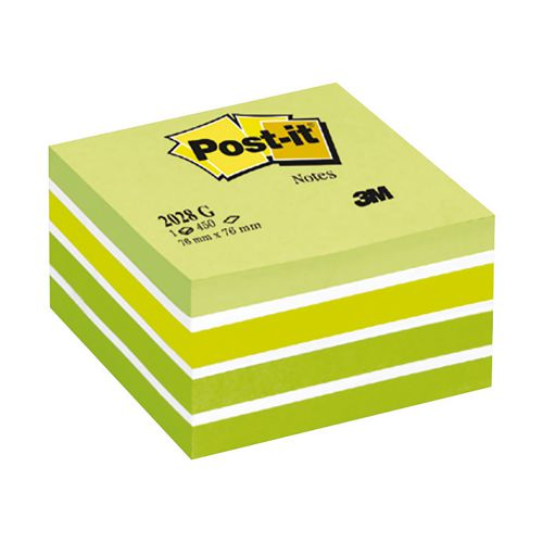 Post-it Note Cube Pad of 450 Sheets 76x76mm Pastel Green Ref 2028G