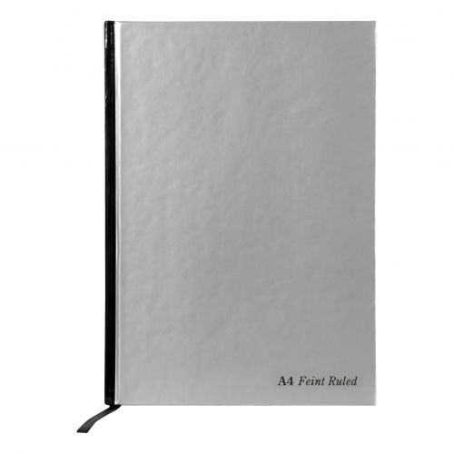 Pukka Pad Notebook Casebound Hardback 90gsm Ruled Margin 192pp A4 Silver Ref RULA4 [Pack 5]