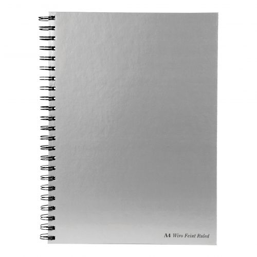 Pukka Pad Notebook Wirebound Hardback 90gsm Ruled Margin Perforated 160pp A4 Silver Ref WRULA4 [Pack 5]