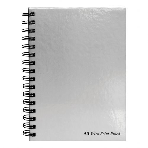 Pukka Pad Notebook Wirebound Hardback 90gsm Ruled Perforated 160pp A5 Silver Ref WRULA5 [Pack 5]