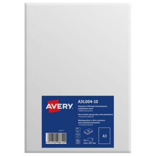 Avery Labels Permanent Ultra-resistant A3 Ref A3L004-10 [Pack 10]